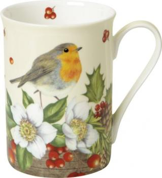 Bone China Becher WELCOME RED ROBIN cream