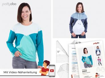 Papierschnittmuster Zoey Colourblock-Pullover by pattydoo